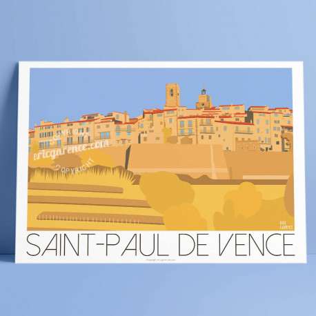 Poster Saint Paul de Vence in Spring by Eric Garence, French Riviera art gallery artist contemporary collection Golden dove ramp