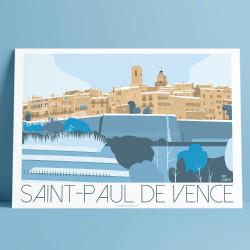 Affiche Saint Paul de Vence Printemps par Eric Garence, Côte d'Azur France art galerie artiste contemporain art-déco Colombe d'o