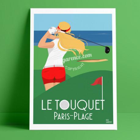 Affiche Le Touquet Paris-Plage Golf par Eric Garence, Char à voile, France voyage souvenir vacances