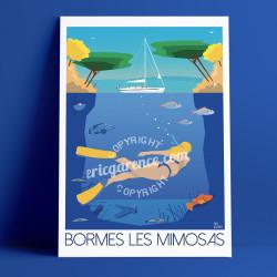 Affiche Bormes-les-Mimosas par Eric Garence, Côte d'Azur France Provence rétro vintage illustration dessin niçois Chirac macron