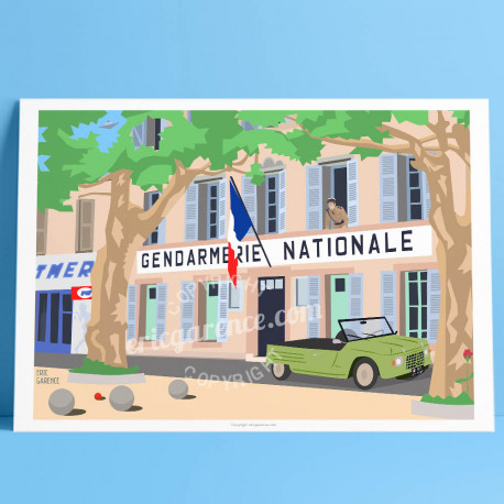 Poster Le gendarme de Saint Tropez by Eric Garence, Provence French Riviera var poster vintage illustration drawing french cruc