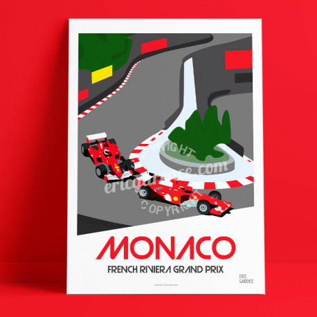 Poster Monaco by Eric Garence, French Riviera travel memories holydays Pinup jet set Formula 1 red scuderia fairmont loews