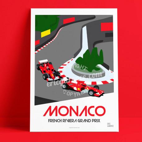 Affiche Monaco par Eric Garence, Côte d'Azur France rétro vintage illustration dessin niçois Formule 1 rouge scuderia fairmont l