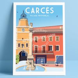 Cacrès, la Fontaine et l'Horloge, 2019, Affiche Eric Garence