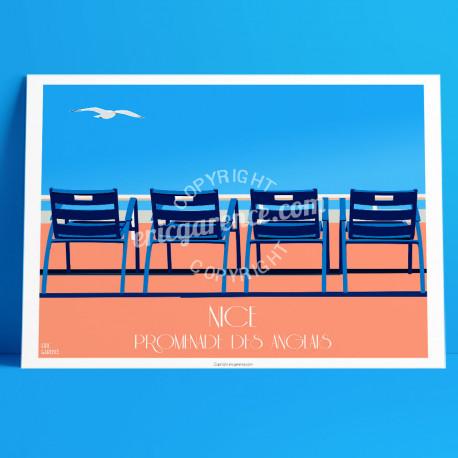 Affiche Les Chaises Bleues à Nice par Eric Garence, Côte d'Azur France rétro vintage illustration dessin niçois prom promenade d