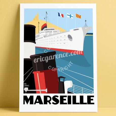 Affiche Marseille, le Port par Eric Garence, Provence Sud Bouches du Rhône art galerie artiste contemporain art-déco OM