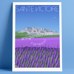 Poster La Sainte-Victoire and the Lavandes, Eric Garence, artist, French, gift,  Provence
