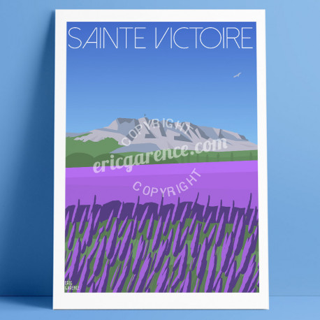 Affiche La Sainte-Victoire et les Lavandes, Eric Garence, Provence, Poster, Artiste