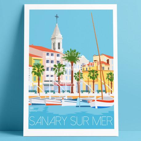 Affiche le Port de Sanary-sur-Mer, Eric Garence, Provence, Poster, Artiste