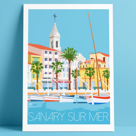 Poster Sanary-sur-Mer Harbour, Eric Garence, artist, French, gift,  Provence