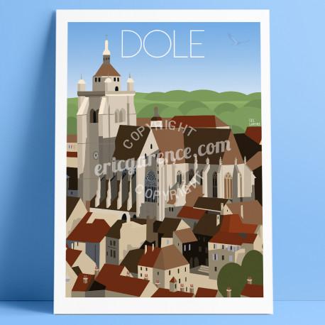 Affiche Dole La Collégiale par Eric Garence, Franche Comté Art galerie artiste contemporain art-déco