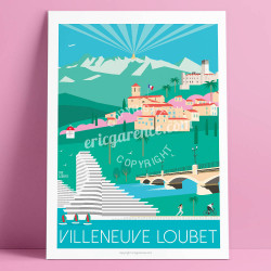 Affiche Villeneuve Loubet Cote d'azur Poster Eric Garence