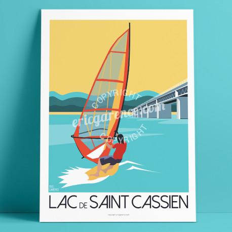Affiche Lac de Saint Cassien, Montauroux planche à voile Cote d'azur Poster Eric Garence