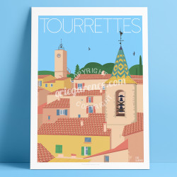 Poster Tourrettes Var Clocher French Riviera Poster Eric Garence
