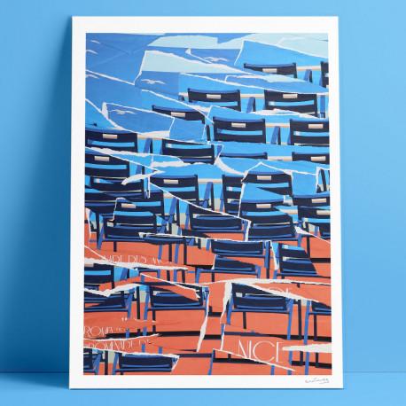 Chaises Bleues, Eric Garence, Phoenix, artiste niçois, art, mamac, affiches, signé, papier d'art