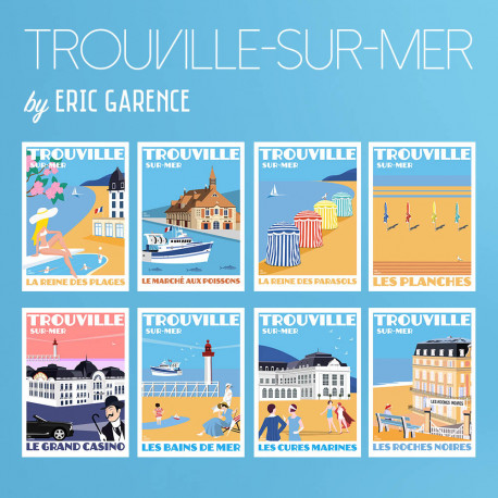 8 posters of Trouville-sur-Mer by Eric Garence, retro, vintage, artwork, gift, travel, Savignac