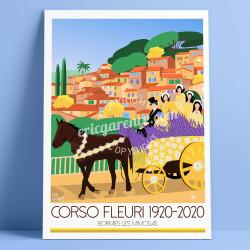 Affiche Corso Fleuri de Bormes-les-Mimosas, 1920-2020 Eric Garence, Affiche, rétro, vintage, neo-retro