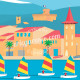 Affiche Cagnes sur mer, Les Optimists et l'Eglise du Cros par Eric Garence artiste Niçois de la Cote d'azur