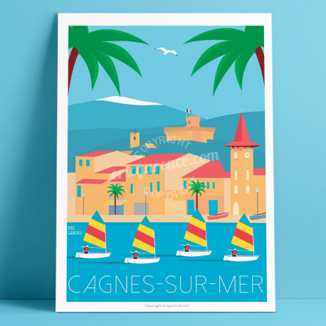 Poster Cagnes sur mer, Les Optimists et l'Eglise du Cros by eric Garence French Artist Deco Travel Poster gift memories sea boat