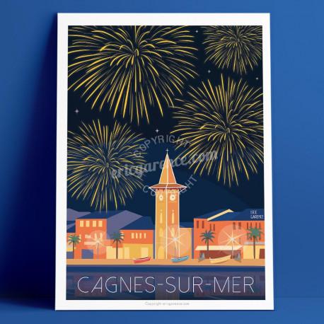 Affiche Cagnes sur mer, Le feu d'artifice du Cros-de-Cagnes par Eric Garence artiste Niçois de la Cote d'azur