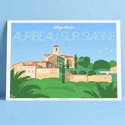 Affiche Auribeau-sur-Siagne, Cote d'azur Poster Eric Garence Village France