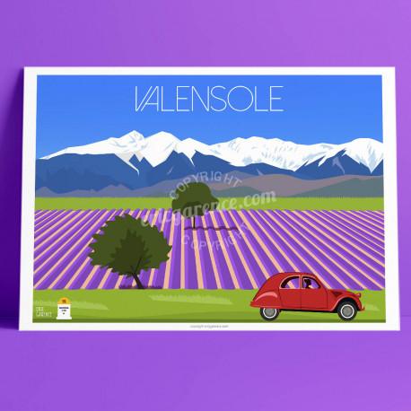 Affiche Valensole et la 2CV, Lavandes, Provence, par Eric Garence, affiche, poster, vintage, neo retro, illustration