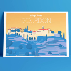 Poster Gourdon French Riviera Poster Eric Garence vintage retro