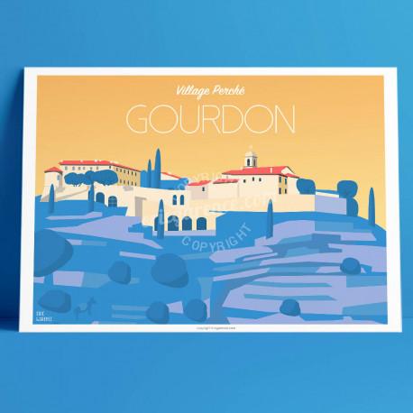 Affiche Gourdon, Cote d'azur Poster Eric Garence Village France Déco, rétro, vintage, art