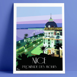 Affiche Le Negresco à Nicepar Eric Garence, Côte d'Azur France rétro vintage illustration dessin niçois augier palace nicois pal