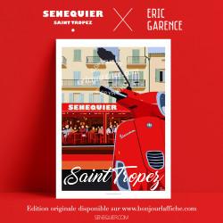 Affiche Saint Tropez Senequier par Eric Garence, Provence Côte d'Azur Var art galerie artiste contemporain art-déco vespa café r