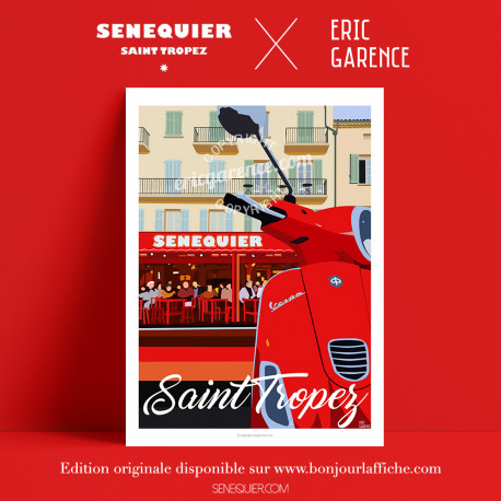 Poster Saint Tropez Senequier by Eric Garence, Provence French Riviera var art gallery artist contemporary collection vespa coff