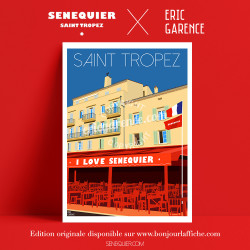 Poster Saint Tropez Senequier I Love by Eric Garence, Provence French Riviera var art gallery artist contemporary collection Kar