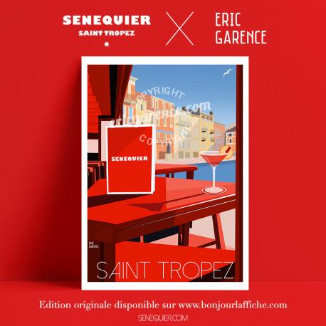 Affiche Saint Tropez Cocktail at Senequier par Eric Garence, Provence Côte d'Azur Var art galerie artiste contemporain art-déco