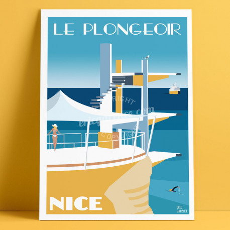 Affiche Le Plongeoir à Nice les 5 ans par Eric Garence, Côte d'Azur France rétro vintage painting artiste niçois la réserve