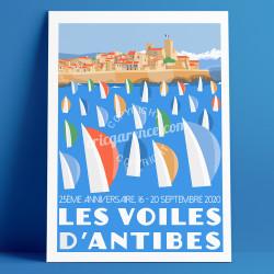 Poster Les Voiles d'Antibes, 25ème édition, 2020 par Eric Garence, French Riviera France bonjourlaffiche