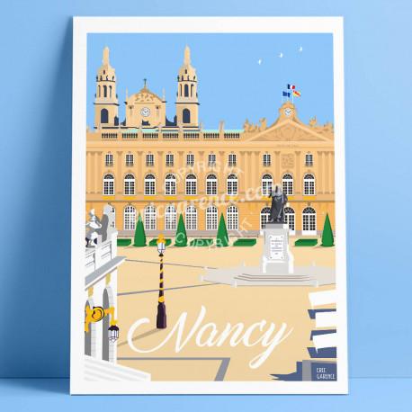 Poster Nancy, place Stanislas par Eric Garence, Auvergne Rhone Alpes Ain art galerie artiste art-déco, concept store