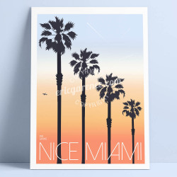 Affiche Nice Miami par Eric Garence, Côte d'Azur France orange cadeau art poster