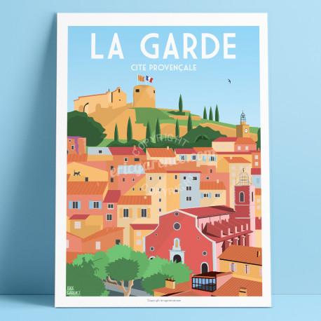 Affiche, La Garde, Var, Toulon, Provence, Eric Garence, illustration, poster, vintage, neo retro, illustration, Vert