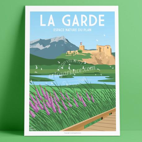 Affiche, La Garde, Var, Toulon, Provence, Eric Garence, illustration, poster, vintage, neo retro, espace nature, Vert