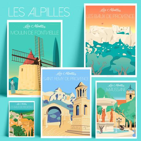 Affiche les Alpilles Moulin de Daudet, Les Baux, Saint Remy, Maussane, Illustration, poster, vintage, rétro, provence