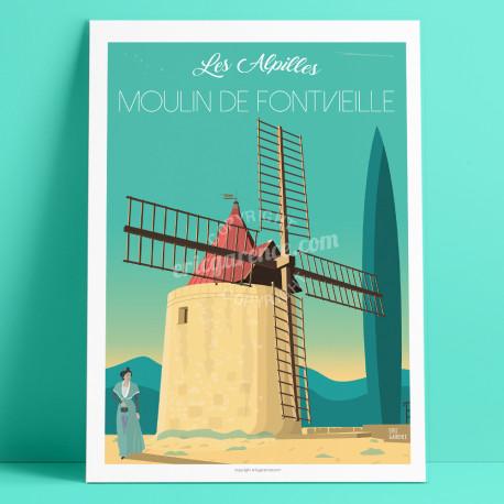 Le Moulin de Fontvieille, Les Alpilles, Provence, Eric Garence, affiche, poster, vintage, neo retro, illustration, Arles, Daudet