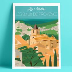 Poster Les Baux-de-Provence, Massif des Alpilles, Eric Garence,  souvenir, gift, retro, vintage, illustration, artwork