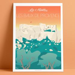 Affiche Le Chateau des Baux-de-Provence, Les Alpilles, 2020, Eric Garence, affiche, Alpilles, poster, vintage, neo retro, illust