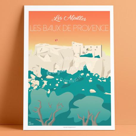 Baux-de-Provence Castle, Les Alpilles, 2020, déco, affiche, eric garence, Artiste, illustration, neo retro, vintage
