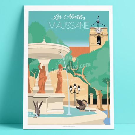 Affiche, Maussane les Alpilles, Place, Fontaine, Provence, Eric Garence, affiche, poster, vintage, neo retro, illustration, Conc