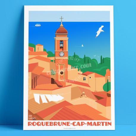 """Affiche Roquebrune-Cap-Martin"""" par Eric Garence, Côte d'Azur France alu dibond plexiglass papier original limitéLe Corbusier Cad"""