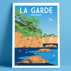 Affiche, La Garde, Var, Toulon, Provence, Eric Garence, illustration, poster, vintage, neo retro, anse magaud, san peyre,