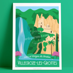 Affiche, Villecroze-les-Grottes, Var, Verdon, Provence, Eric Garence, illustration, poster, vintage, neo retro,  Sainte croix