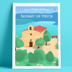 Affiche, Baudinard-sur-Verdon, Var, Verdon, Provence, Eric Garence, illustration, poster, vintage, neo retro,  Sainte croix