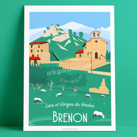 Affiche, Brenon, Var, Gorges du Verdon, Provence, Eric Garence, illustration, poster, vintage, neo retro,  Sainte croix, Provenc